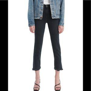 New! Levi's 724 Raw Hem cropped straight-leg jeans